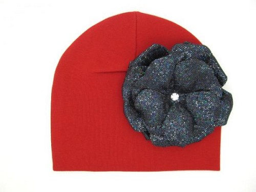 Red Cotton Hat with Sequins Black Rose