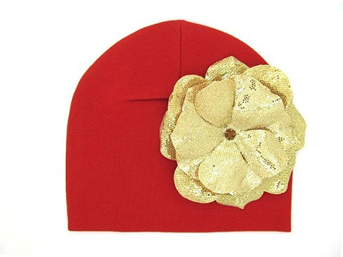 Red Cotton Hat with Sequins Gold Rose