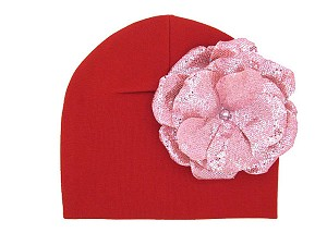 Red Cotton Hat with Sequins Pale Pink Rose