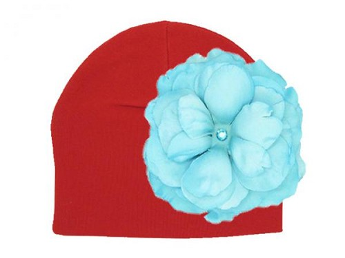 Red Cotton Hat with Teal Large Rose