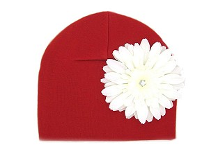 Red Cotton Hat with White Daisy
