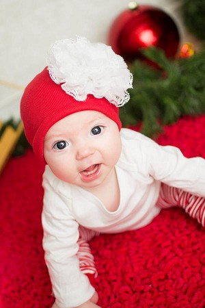 Red Cotton Hat with White Lace Rose