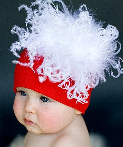 Red Cotton Hat with White Large Curly Marabou