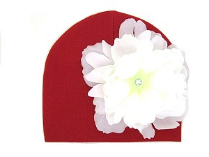 Red Cotton Hat with White Large Peony