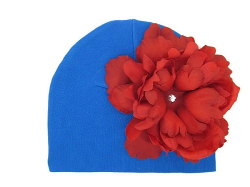 Royal Blue Cotton Hat with Red Large Peony