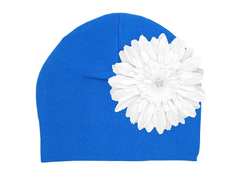 Royal Blue Cotton Hat with White Daisy