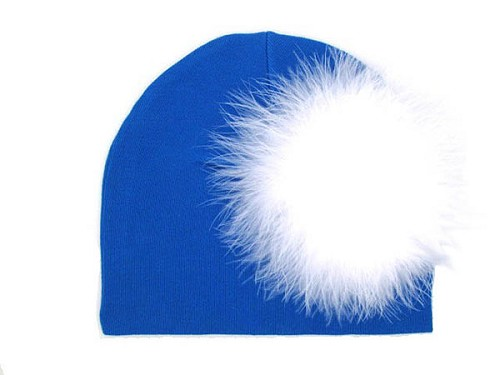 Royal Blue Cotton Hat with White Large regular Marabou