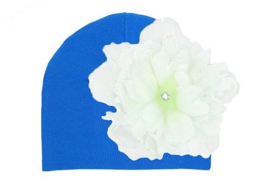 Royal Blue Cotton Hat with White Large Peony