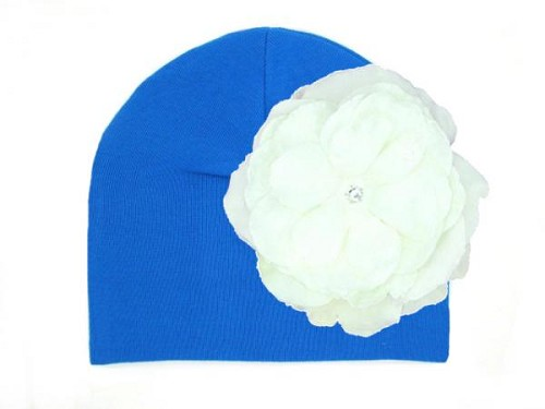 Royal Blue Cotton Hat with White Large Rose