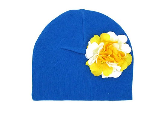 Royal Blue Cotton Hat with White Yellow Large Geraniums