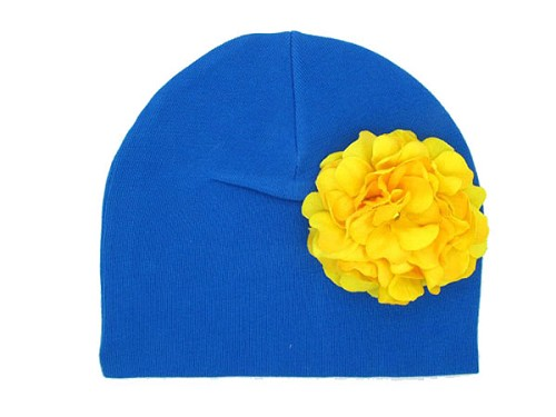 Royal Blue Cotton Hat with Yellow Large Geraniums