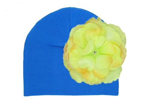 Royal Blue Cotton Hat with Yellow Large Rose
