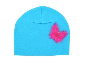 Teal Applique Hat with Butterfly