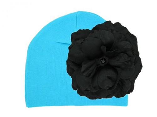 Teal Cotton Hat with Black Large Rose