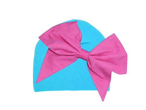 Teal Cotton Hat with Candy Pink Bow-Rae-Mi
