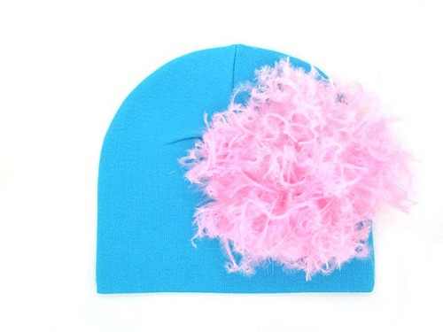 Teal Cotton Hat with Candy Pink Large Curly Marabou