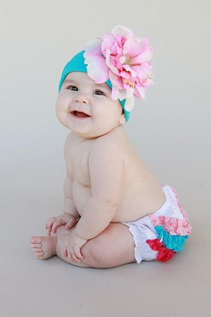 Teal Cotton Hat with Candy Pink Large Peony