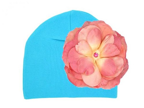 Teal Cotton Hat with Candy Pink Large Rose