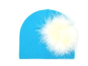 Teal Cotton Hat with Cream Large regular Marabou