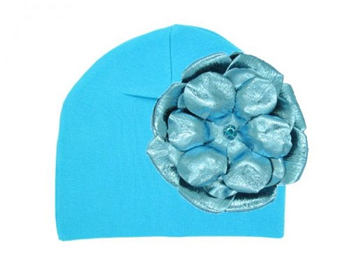 Teal Cotton Hat with Metallic Teal Rose
