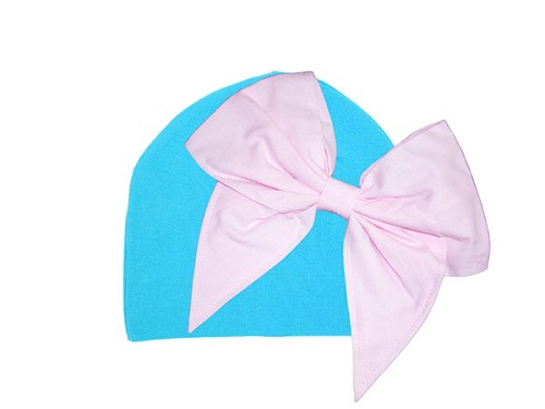 Teal Cotton Hat with Pale Pink Bow-Rae-Mi
