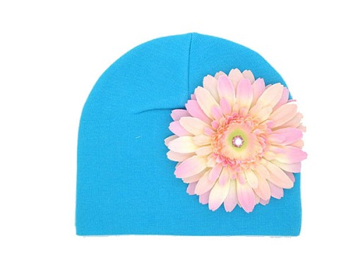 Teal Cotton Hat with Pale Pink Daisy