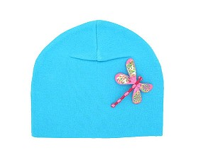 Teal Applique Hat with Pale Pink Dragonfly