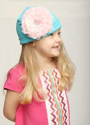 Teal Cotton Hat with Pale Pink Lace Rose