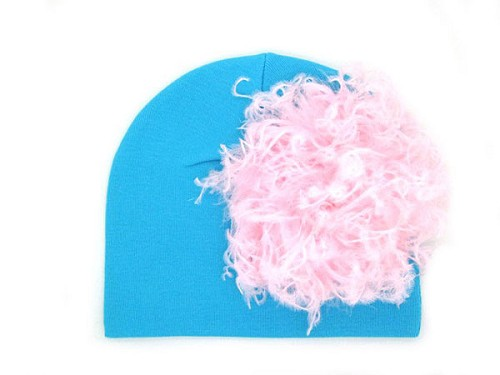 Teal Cotton Hat with Pale Pink Large Curly Marabou
