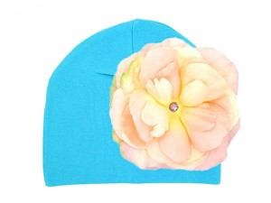 Teal Cotton Hat with Pale Pink Large Rose