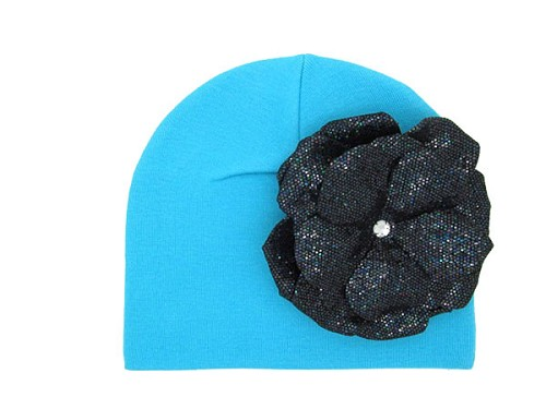 Teal Cotton Hat with Sequins Black Rose
