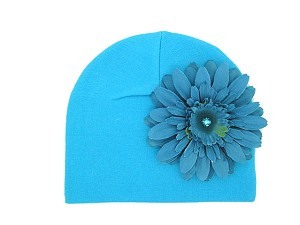 Teal Cotton Hat with Teal Daisy