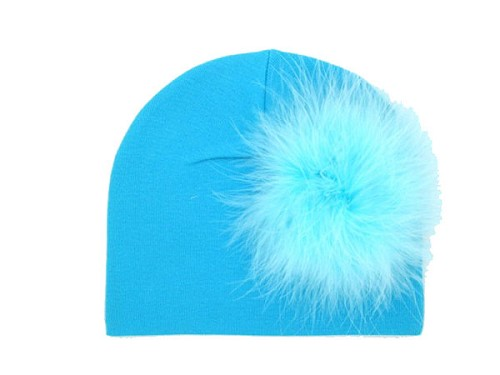 Teal Cotton Hat with Teal Large regular Marabou