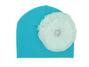 Teal Cotton Hat with White Lace Rose