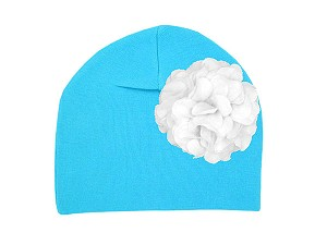 Teal Cotton Hat with White Large Geraniums