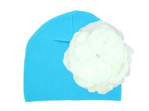 Teal Cotton Hat with White Large Rose