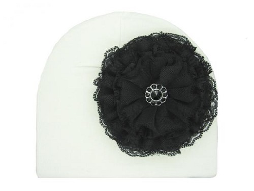 White Cotton Hat with Black Lace Rose