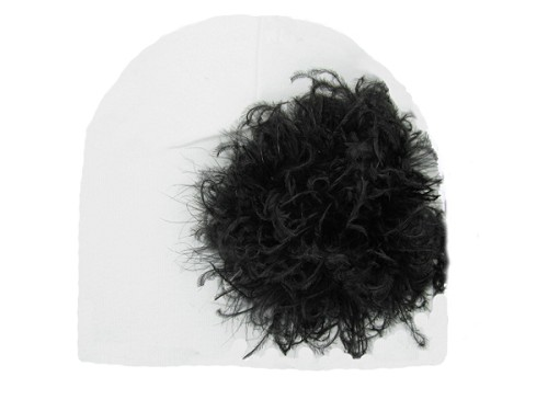 White Cotton Hat with Black Large Curly Marabou