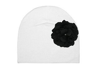 White Cotton Hat with Black Large Geraniums