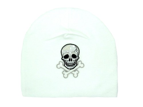 White Applique Hat with Black Skull