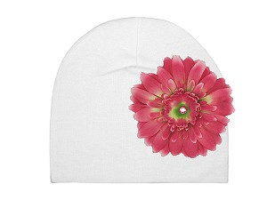 White Cotton Hat with Candy Pink Daisy