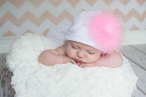 White Cotton Hat with Candy Pink Large regular Marabou