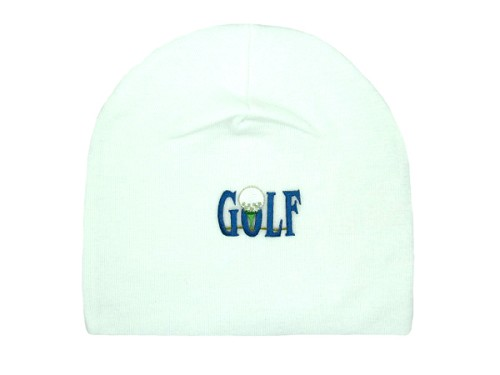 White Applique Hat with Golfball