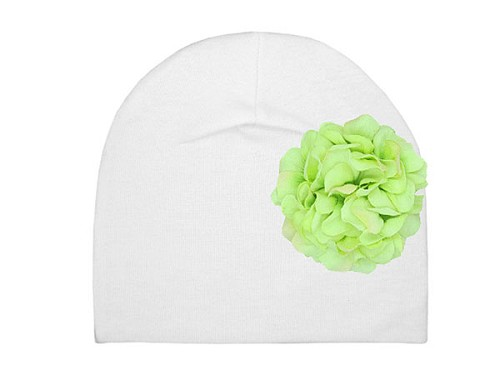 White Cotton Hat with Green Large Geraniums