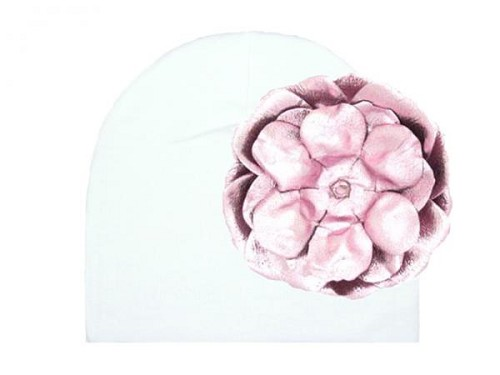 White Cotton Hat with Metallic Pale Pink Rose