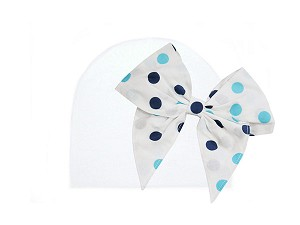 White Cotton Hat with Navy Blue Dot Bow-Rae-Mi