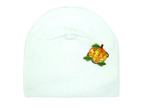White Applique Hat with Orange Pumpkin