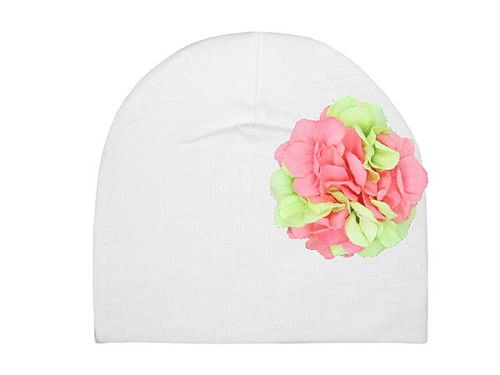 White Cotton Hat with Pink Green Large Geraniums