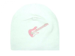 White Applique Hat with Pink Guitar
