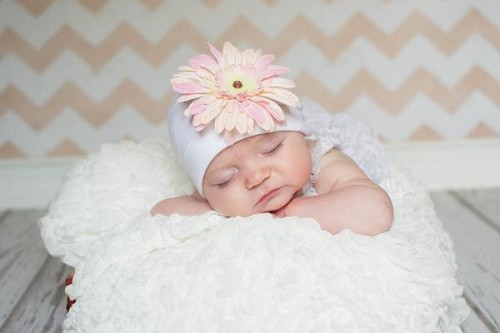 White Cotton Hat with Pale Pink Daisy
